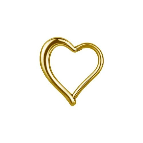 Gold Steel Hinged Heart Ring 16 GA