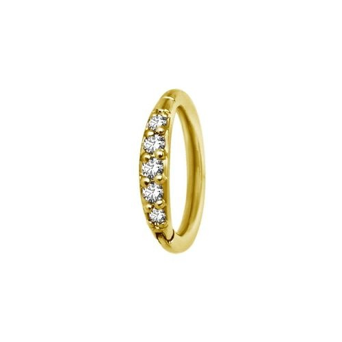 Gold Steel Hinged Ring with Rounded Swarovski Zirconia 16-18 GA