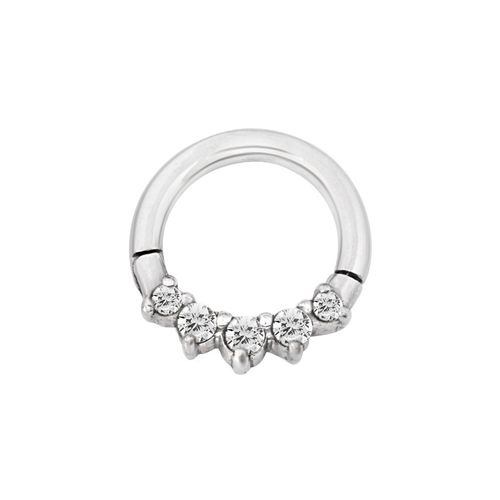Surgical Steel Hinged Ring with Front Facing Pronged Cubic Zirconia 16 GA - 8mm Diameter