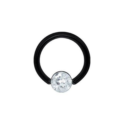 Black Steel Flat Ball Closure Ring for Upper Lip with Jewelled Crystal 16 GA - 8mm Diameter