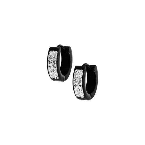 Black Steel Hoop Earrings with Crystals 16 GA - 14mm Diameter