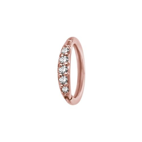 Rose Gold Steel Hinged Ring with Rounded Swarovski Zirconia 16 - 18 GA
